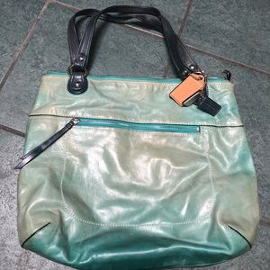 Teal Green Coach Tote